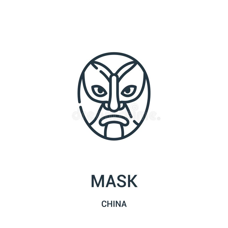 mask icon vector from china collection. Thin line mask outline icon vector illustration. Linear symbol for use on web and mobile stock illustration