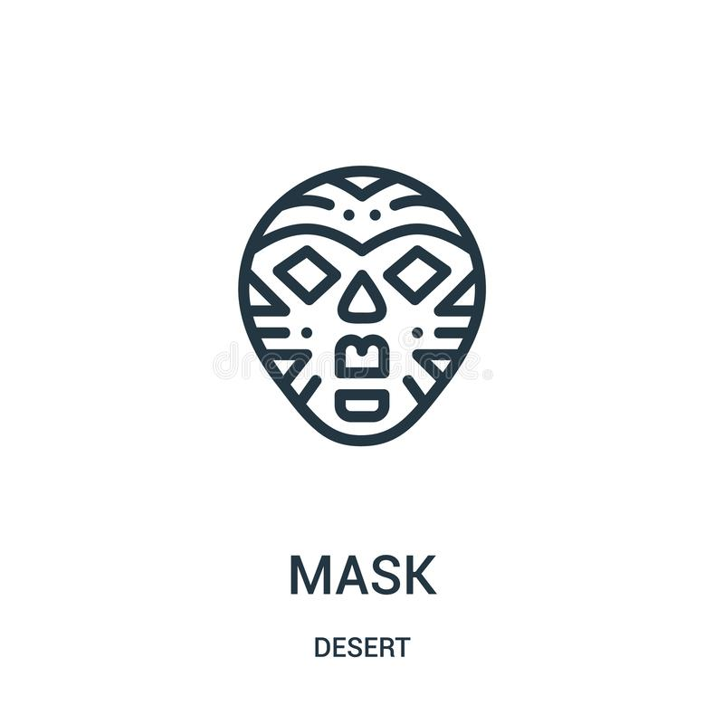 mask icon vector from desert collection. Thin line mask outline icon vector illustration. Linear symbol for use on web and mobile royalty free illustration