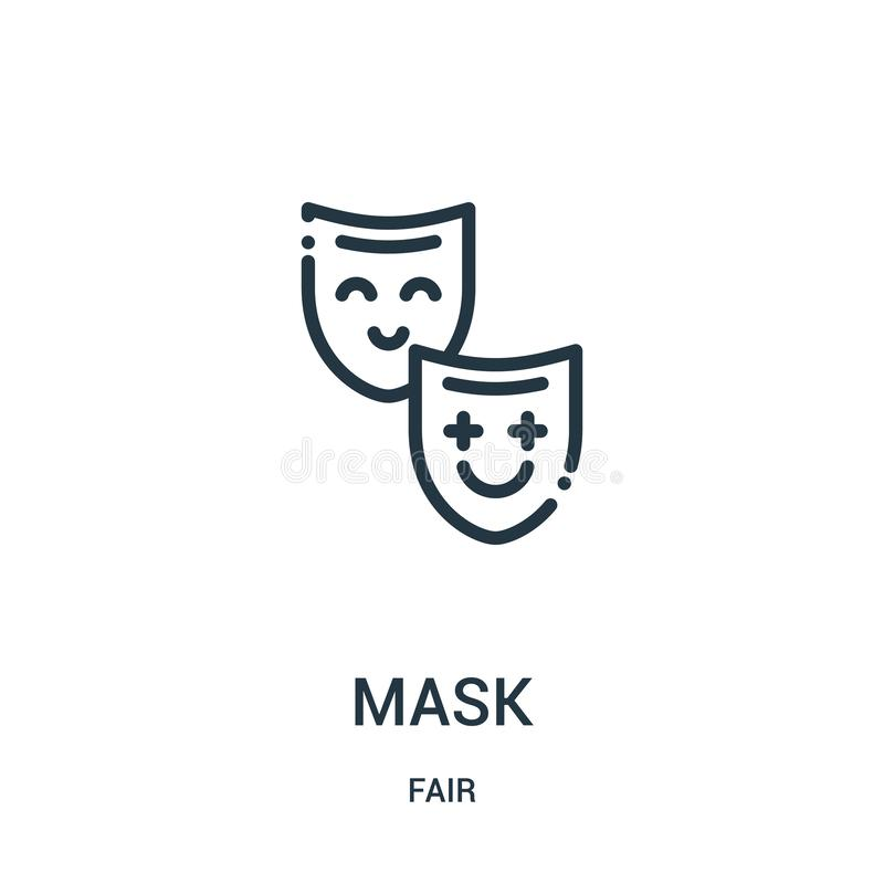mask icon vector from fair collection. Thin line mask outline icon vector illustration. Linear symbol for use on web and mobile vector illustration