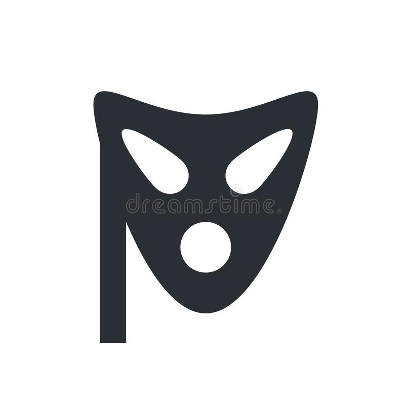 Mask icon vector sign and symbol isolated on white background, M royalty free illustration