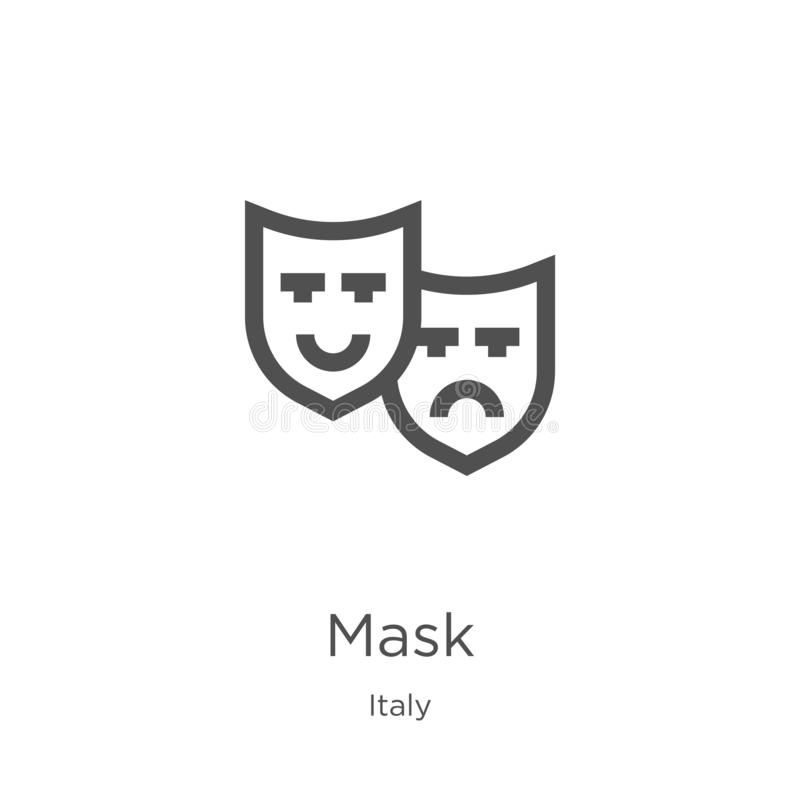 mask icon vector from italy collection. Thin line mask outline icon vector illustration. Outline, thin line mask icon for website royalty free illustration