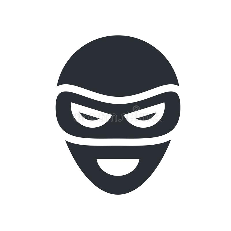 Mask icon vector sign and symbol isolated on white background, M stock illustration