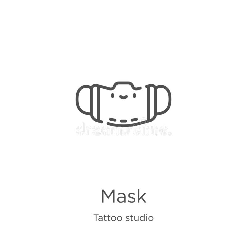 mask icon vector from tattoo studio collection. Thin line mask outline icon vector illustration. Outline, thin line mask icon for vector illustration