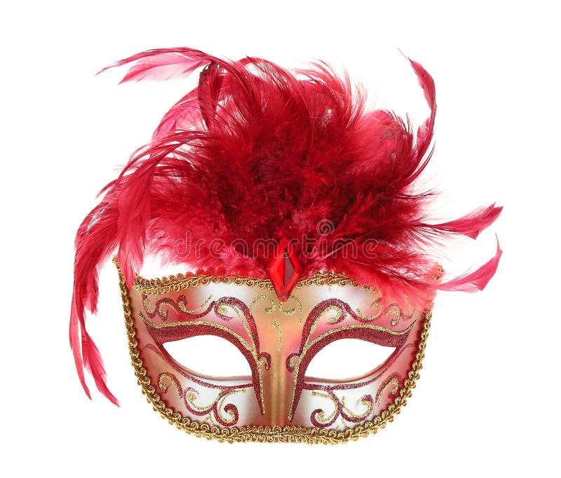 Mask in Red and Gold. Masquerade mask in red and gold with feathers isolated on white royalty free stock images