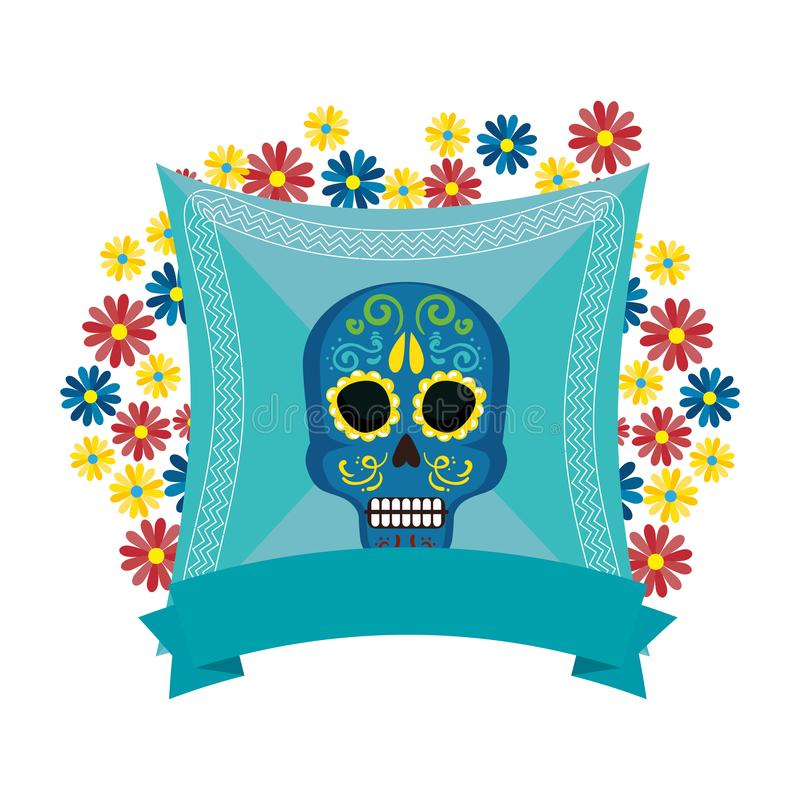 Mask of the santa death with flowers and ribbon vector illustration