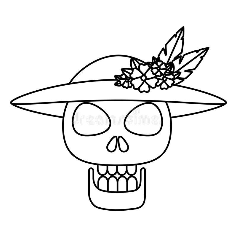 Mask of the santa death with hat royalty free illustration