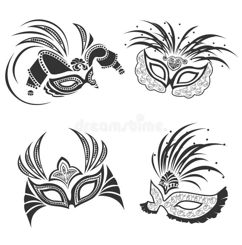 Masquerade masks vector set stock photography