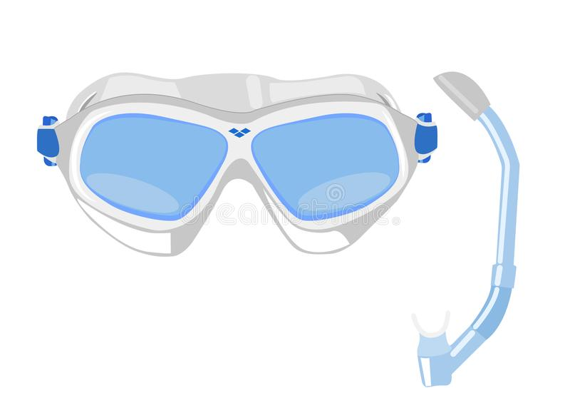 Mask for snorkeling with a tube, a mask for diving, a gray mask. vector illustration