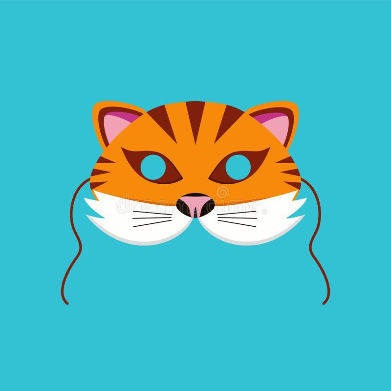 Mask of tiger animal for kids birthday or costume party vector illustrations royalty free illustration