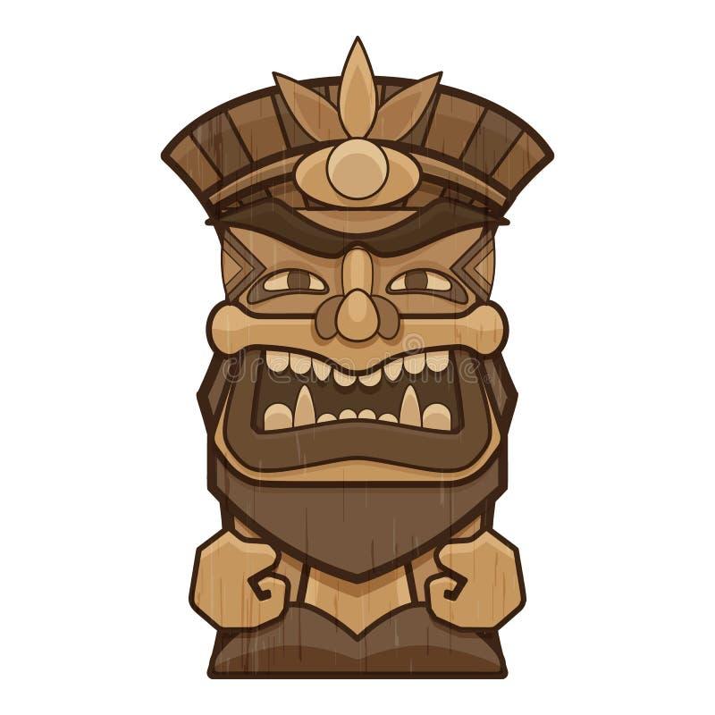 Mask tiki idol icon, cartoon style. Mask tiki idol icon. Cartoon of mask tiki idol vector icon for web design isolated on white background royalty free illustration