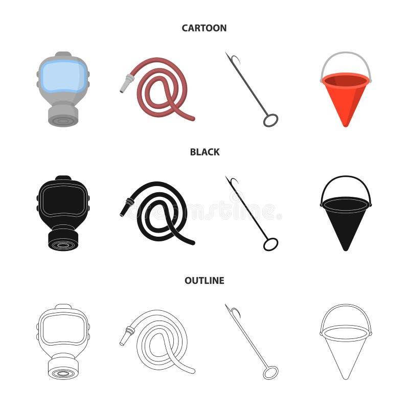 Maska gazowa, wąż elastyczny, wiadro, bagore Pożarniczego działu ustalone inkasowe ikony w kreskówce, czerń, konturu symbolu styl royalty ilustracja