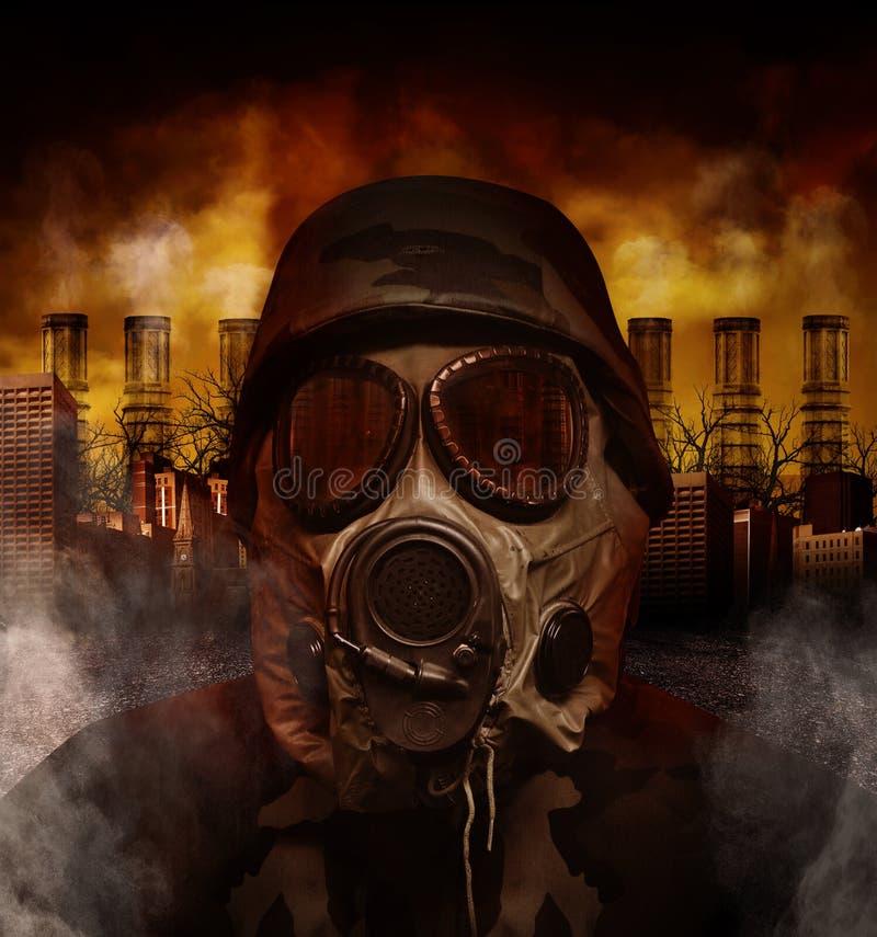 Maska Gazowa Wojenny żołnierz w Zanieczyszczającym niebezpieczeństwa mieście obraz stock