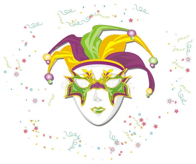 Maska i fajerwerki ilustracja wektor
