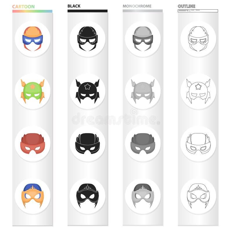 Maska, kinematografia, kreskówki i inna sieci ikona w kreskówce, projektujemy Rzecz, suknia, film, ikony w ustalonej kolekci ilustracja wektor
