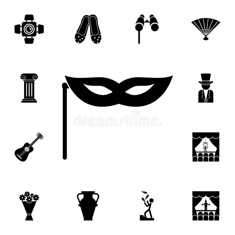 maska na kij ikonie Szczegółowy set teatr ikony Premia graficzny projekt Jeden inkasowe ikony dla stron internetowych, sieć proje royalty ilustracja