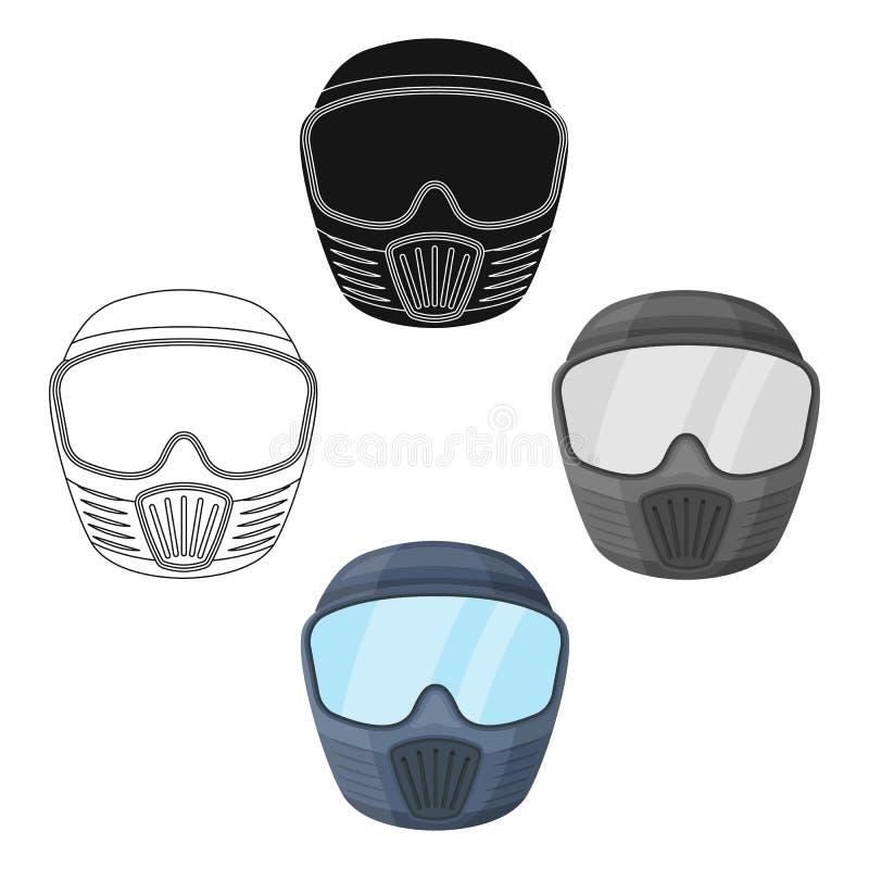 maska ochronna Paintball pojedyncza ikona w kresk?wce, czer? symbolu zapasu ilustraci stylowa wektorowa sie? royalty ilustracja