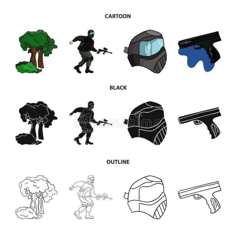 Maska, pistolet, farba, inwentarz Paintball ustalone inkasowe ikony w kreskówce, czerń, konturu symbolu stylowy wektorowy zapas ilustracji