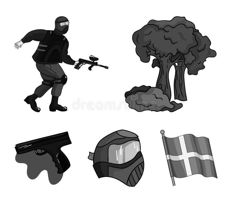 Maska, pistolet, farba, inwentarz Paintball ustalone inkasowe ikony w monochromu stylu wektorowym symbolu zaopatrują ilustracyjną ilustracji