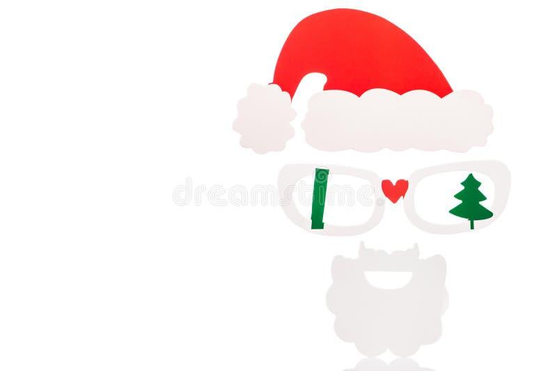 maska Santa Claus z fotografii budka odizolowywający obraz stock