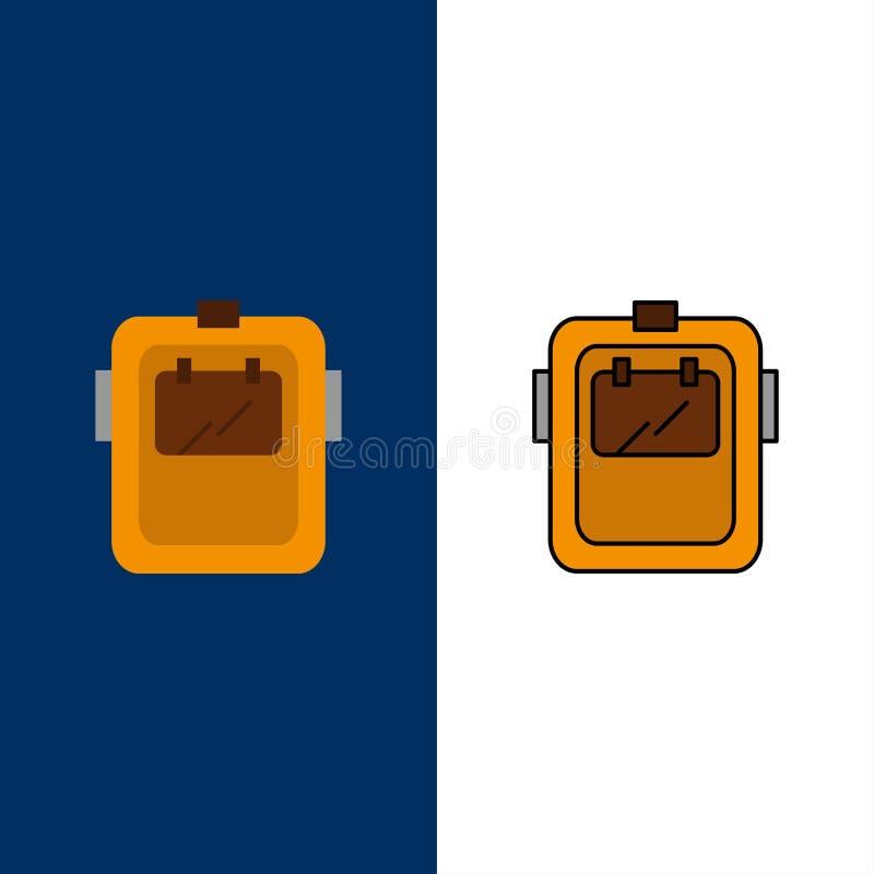 Maska, spaw, ochrona, spawacz, kłobuk ikony Mieszkanie i linia Wypełniający ikony Ustalony Wektorowy Błękitny tło ilustracja wektor