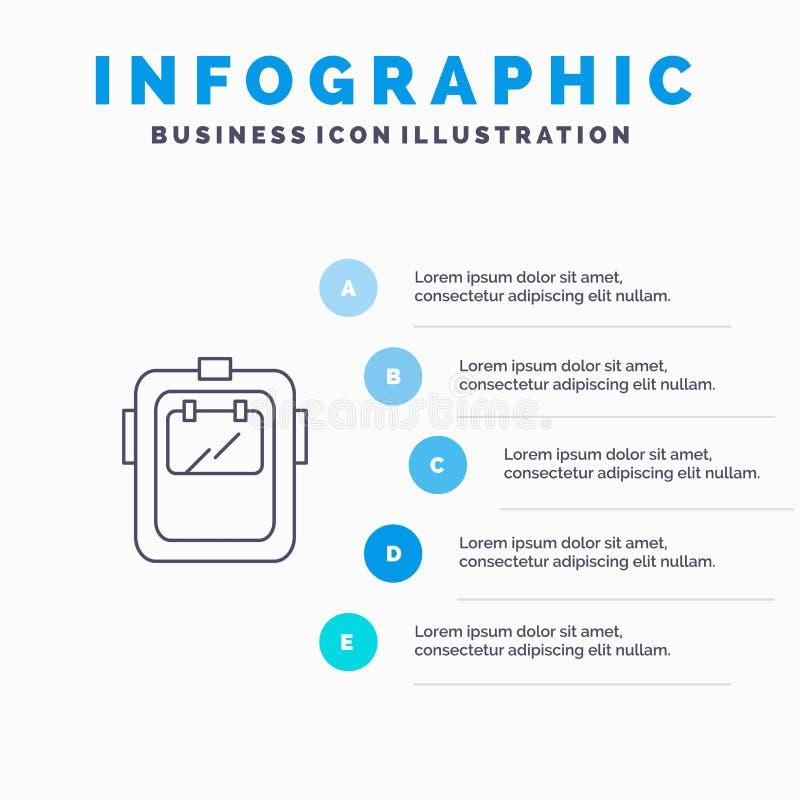 Maska, spaw, ochrona, spawacz, kłobuk Kreskowa ikona z 5 kroków prezentacji infographics tłem ilustracja wektor