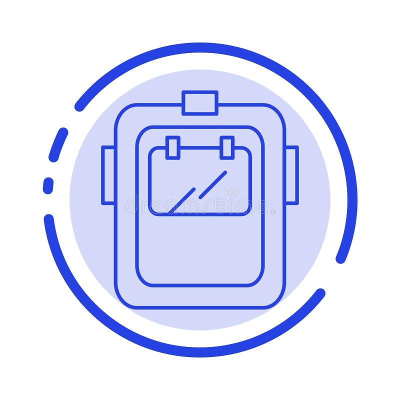 Maska, spaw, ochrona, spawacz, kłobuk linii linii błękit Kropkująca ikona ilustracja wektor