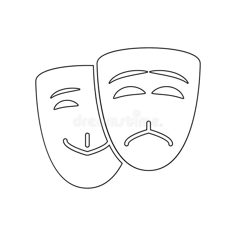 maska szcz??cia i stroskania ikona Element Theatre dla mobilnego pojęcia i sieci apps ikony Kontur, cienieje kreskow? ikon? dla s royalty ilustracja