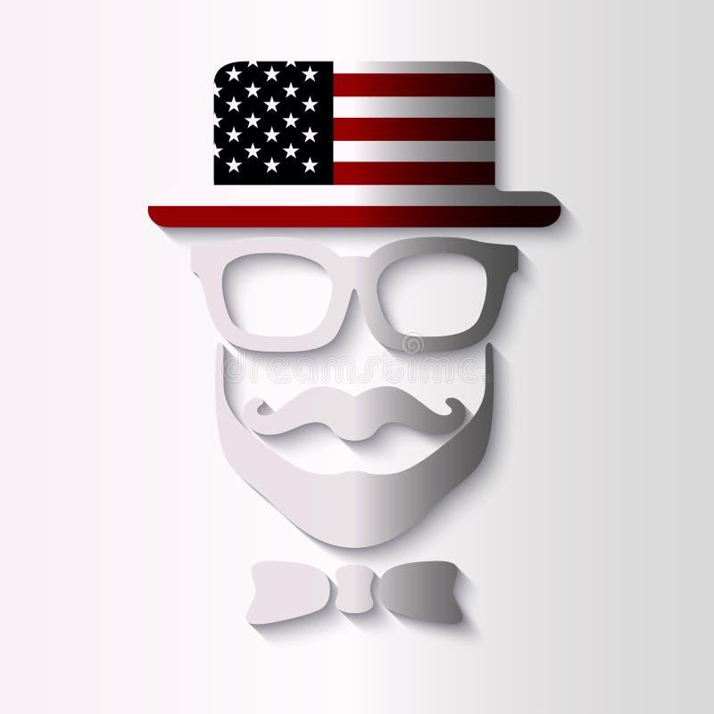Maska w kapeluszu z USA flaga wizerunkiem zdjęcie royalty free