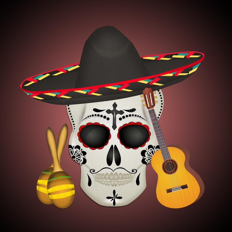 Maske des Tages des toten, mexikanischen Feiertags lizenzfreie abbildung