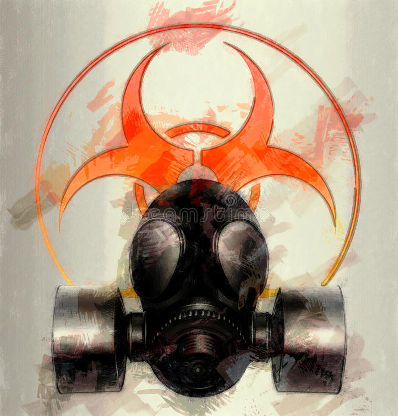 Maske mit Biohazardsymbol - Skizze vektor abbildung