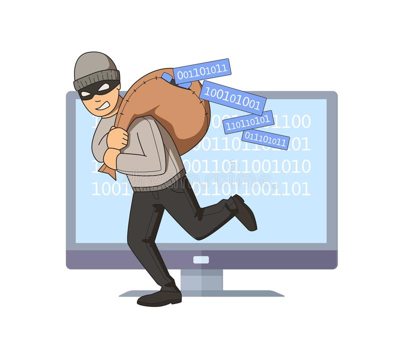 Masked burglar jumping out of computer with bag of code on his shoulder. Flat vector illustration. Isolated on white. Masked burglar jumping out of computer with vector illustration