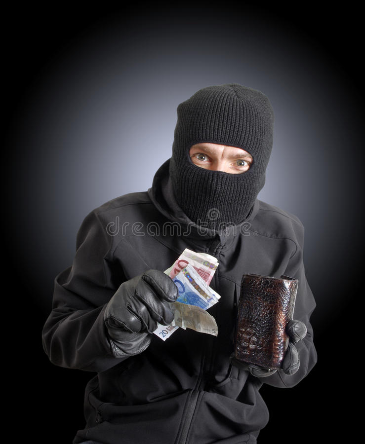 Download Masked Criminal Holding A Stolen Leather Purse Stock Photo - Image: 23607376