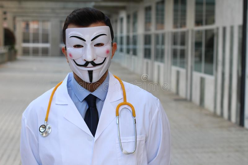 Masked doctor with copy space stock photos