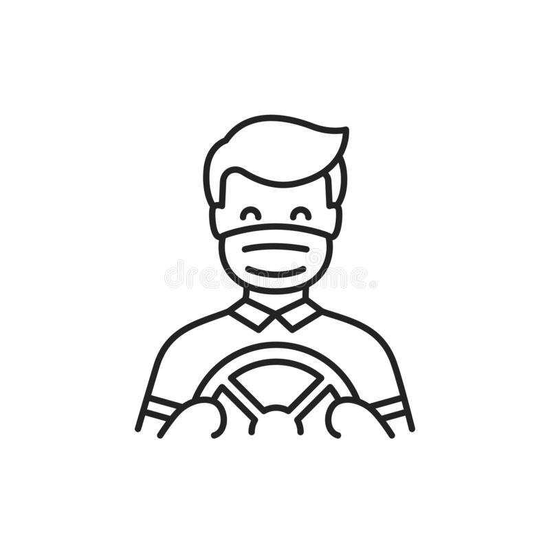 Free Masked Driver Driving Black Line Icon. Safe Travel. Pictogram For Web, Mobile App, Promo. UI UX Design Element Stock Photography - 191214702