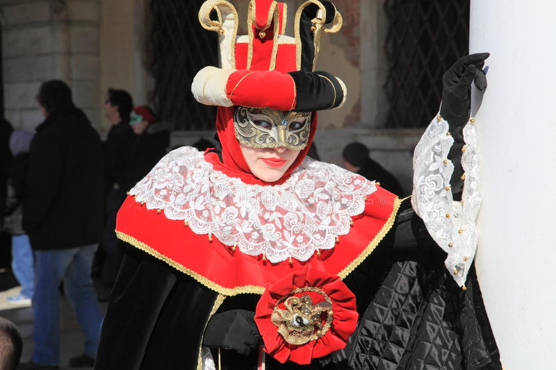 Masked lady at the Venice Carnival festival stock images