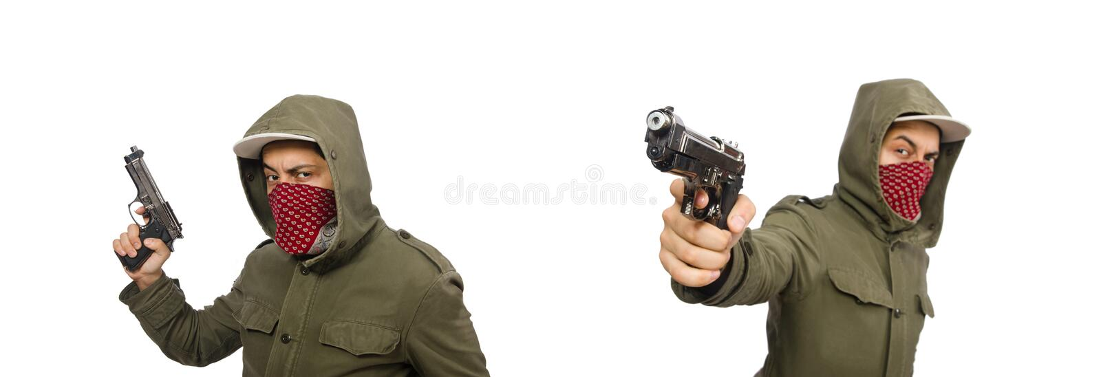 Masked man in criminal concept on white. The masked man in criminal concept on white stock image
