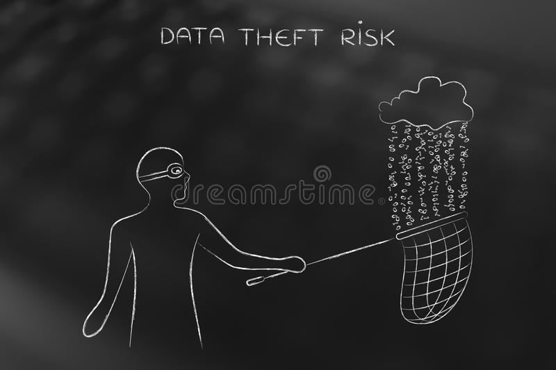 Masked man stealing files from a cloud with binary code rain, da. Masked man stealing files falling off a cloud with binary code rain, concept of data theft and stock images