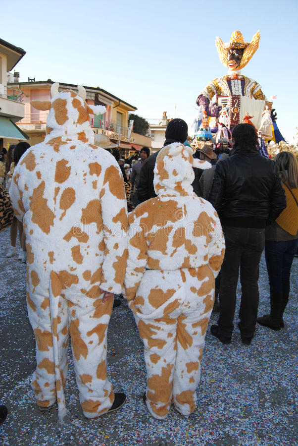 Masked people of carnival of Viareggio stock images