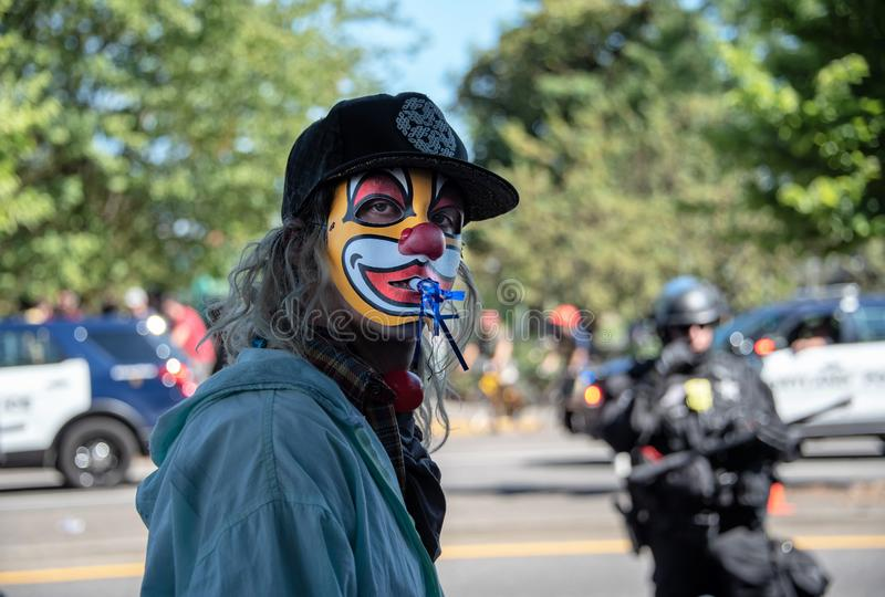 Masked protestor stock photography