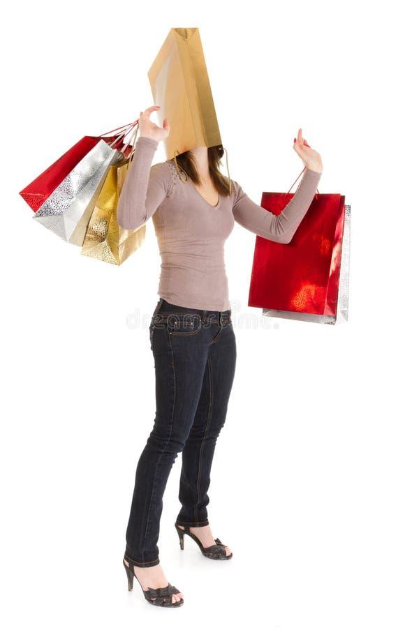 Masked shopping girl