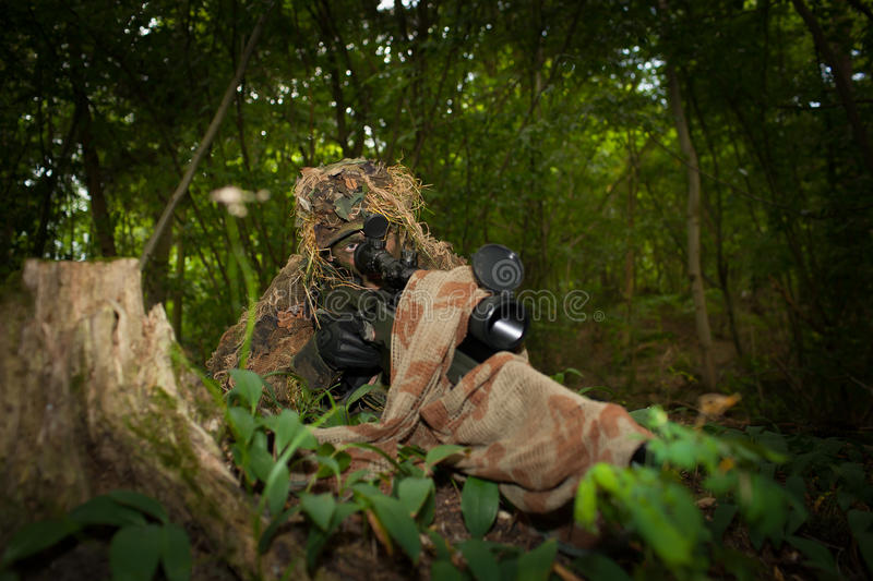 Masked sniper royalty free stock photo