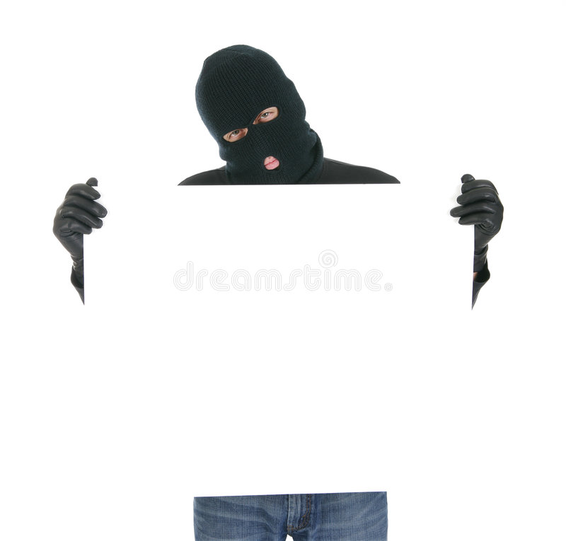 Masked thief - Your message here royalty free stock photos