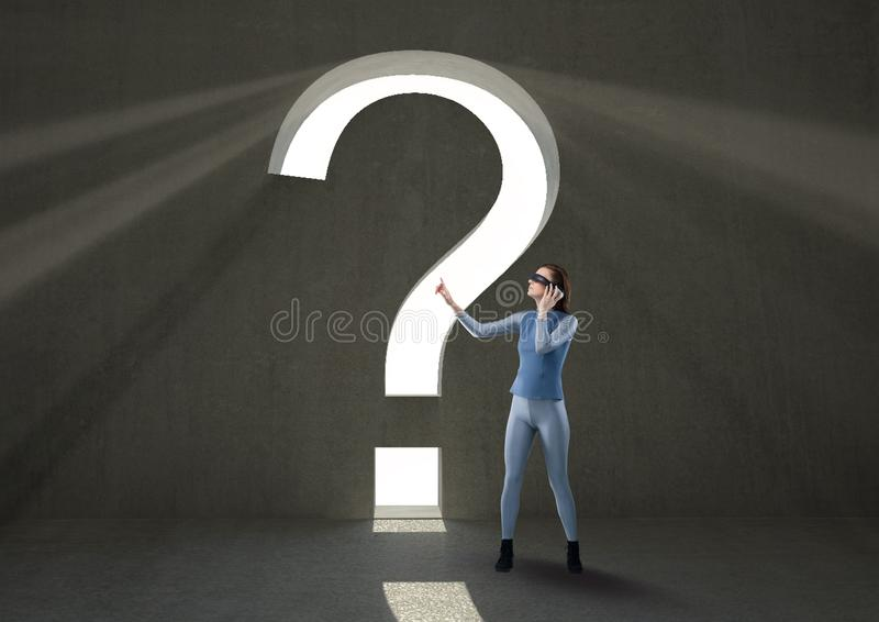 Masked woman near to a question mark royalty free stock photo