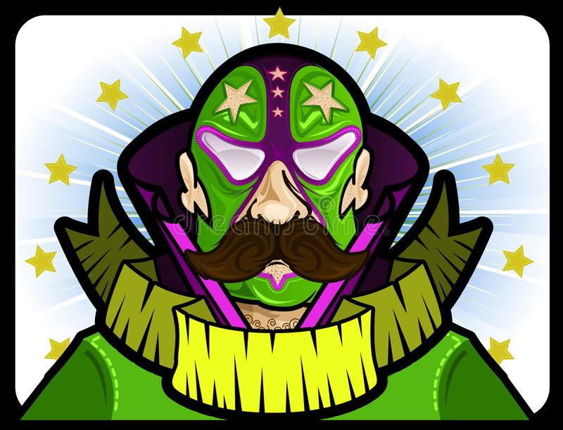 Masked Wrestler with stars and banner royalty free illustration