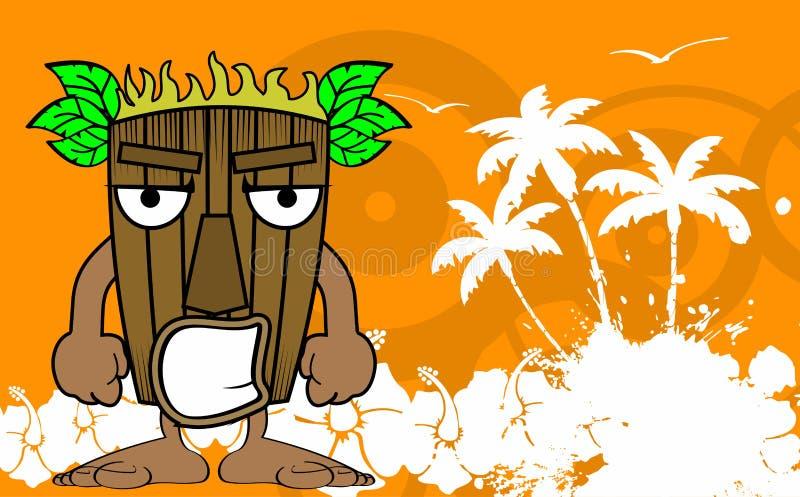 Masken-Karikaturhintergrund Tiki hawaiischer verärgert lizenzfreie abbildung