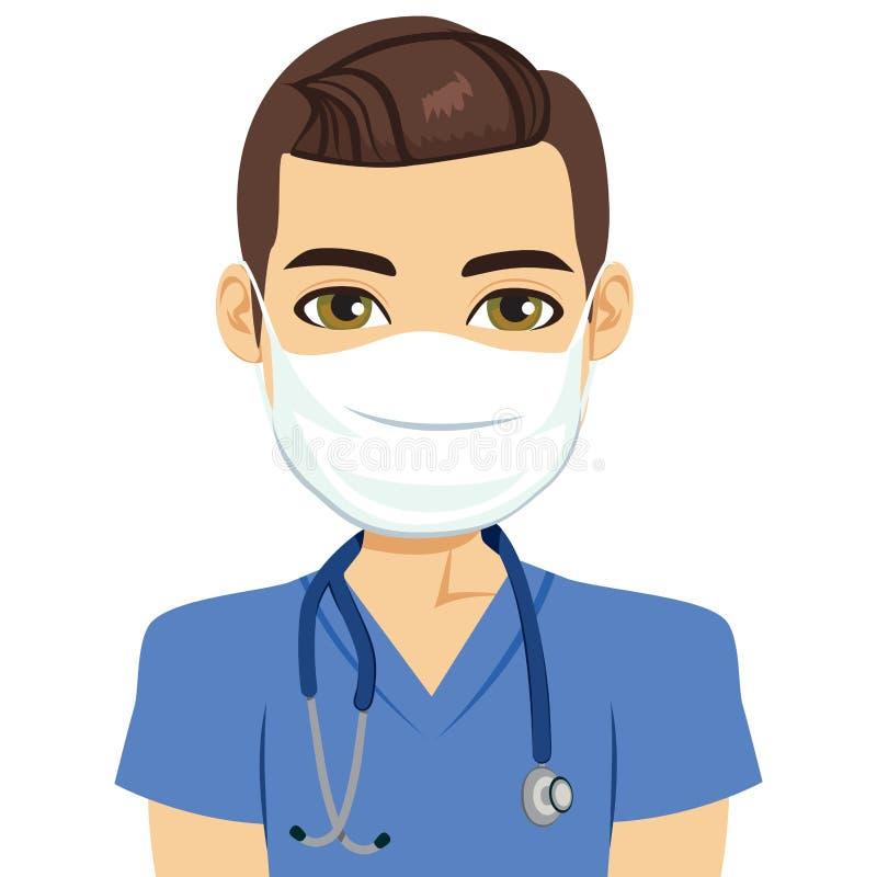 Masken-Krankenschwester Male lizenzfreie abbildung