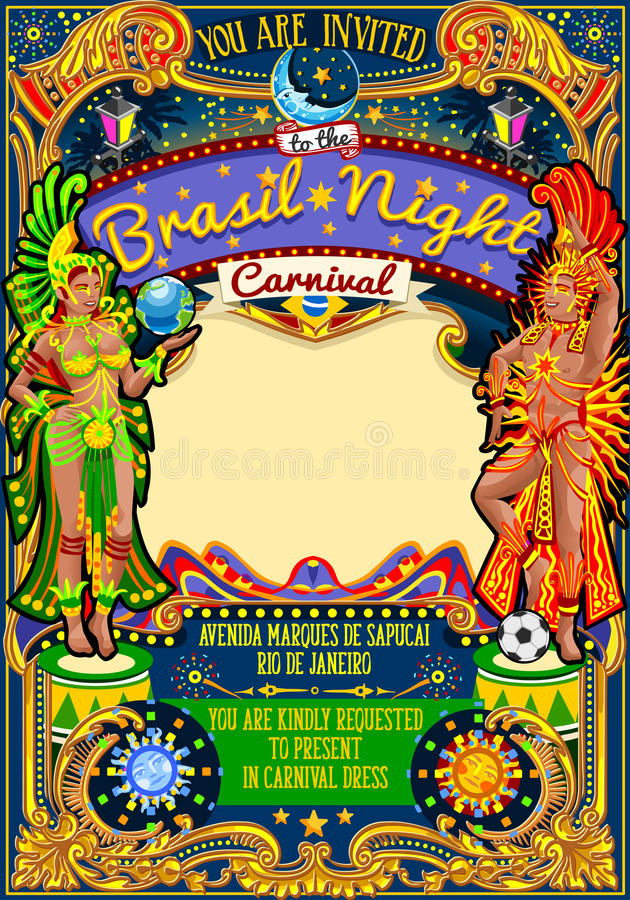 Masken-Show-Parade Rio Carnival Poster Template Brazils Carnaval vektor abbildung