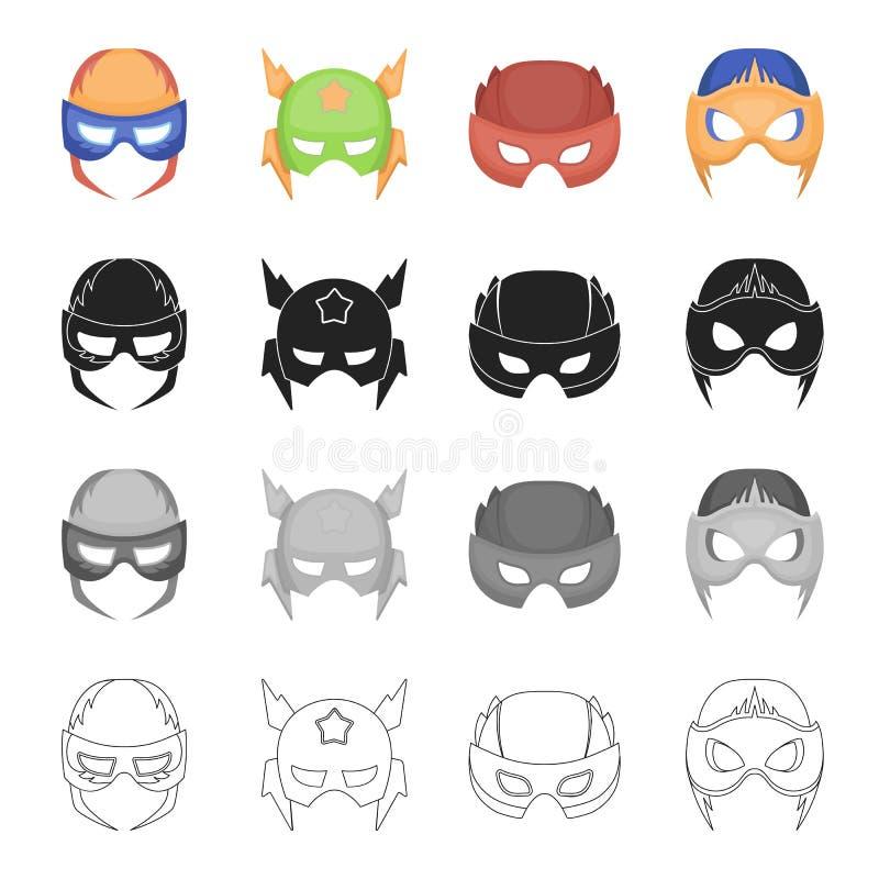 Masker, cinematografie, beeldverhalen en ander Webpictogram in beeldverhaalstijl Ding, kleding, film, pictogrammen in vastgesteld stock illustratie