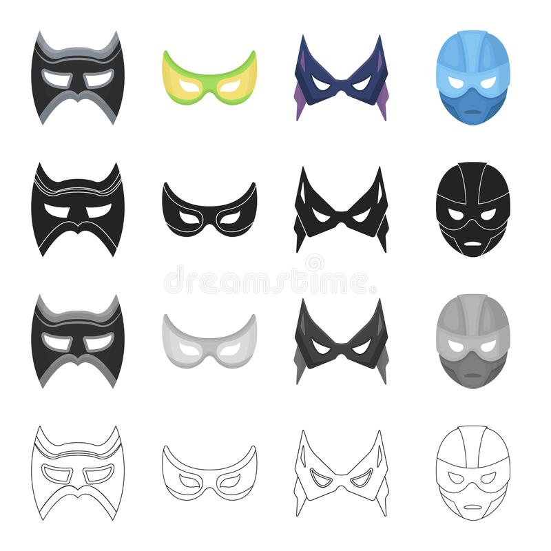 Masker, cinematografie, beeldverhalen en ander Webpictogram in beeldverhaalstijl Held, negatief, Supermanpictogrammen in vastgest royalty-vrije illustratie