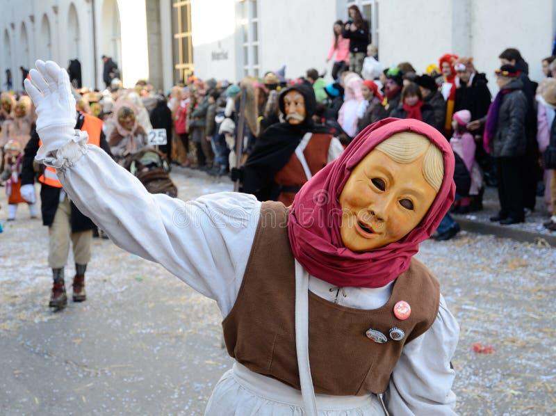 Masker de salutation dans le carnaval Fastnacht photo stock